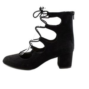 Bar III Percy Lace-Up Black Suede Block Heel